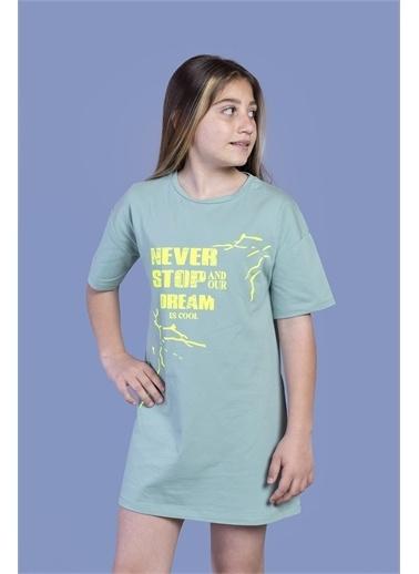 Toontoy Kids Toontoy Kız Çocuk Baskılı Yarım Kol Elbise Yeşil